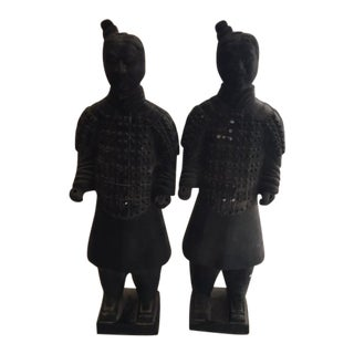 Vintage Terracotta Warrior Statues - a Pair For Sale