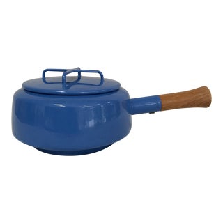 1970s Dansk Kobenstyle Jens Quisgaard Blue Enamel Lidded Sauce Pan Teak Handle For Sale