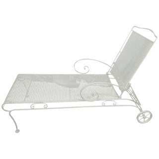 Russell Woodard Iron Mesh Steel Outdoor/Patio Chaise Lounge, circa 1950