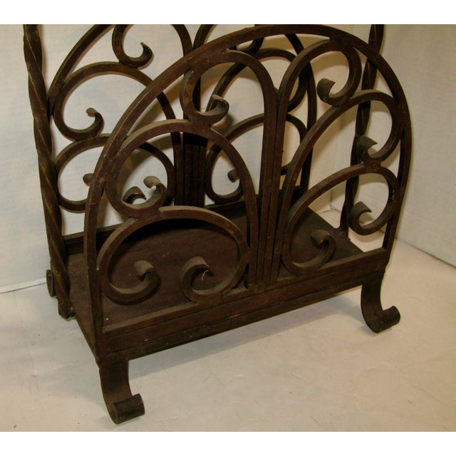 French Country Old Heavy Cast Iron Log/Magazine Rack For Sale - Image 3 of 9