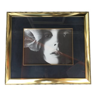 Vintage Mid-Century Framed Portrait of a Woman Signed and Numbered Print For Sale