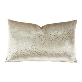 """11.5"""" X 19"""" Kravet Couture Animal Allure in Sterling With Versailles Velvet in Peach Lumbar Pillow Cover Over For Sale"""