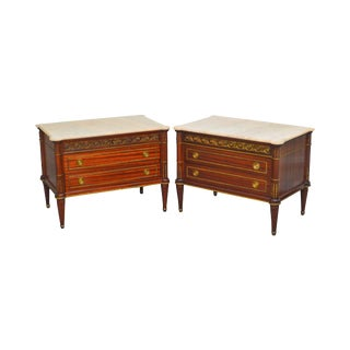 French Louis XVI Style Pair of Mahogany Marble Top Bronze Mounted Chest Nightstands