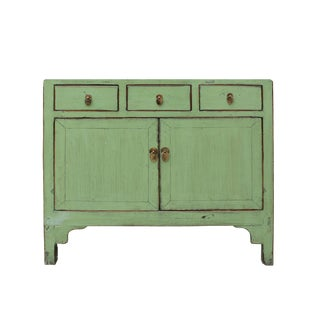 Chinese Distressed Rustic Light Sage Green Foyer Credenza Table Cabine For Sale