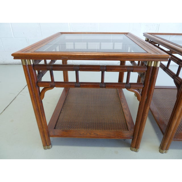 Late 20th Century Vintage Faux Bamboo & Cane Regency Side Tables - a Pair For Sale - Image 5 of 12