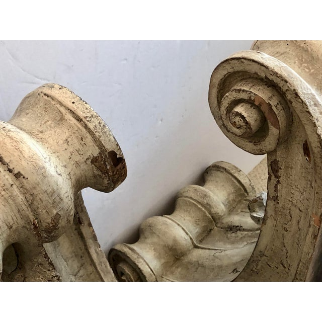 Antique Large Classical Wood Carved Painted Corbels, A-Pair For Sale - Image 11 of 13