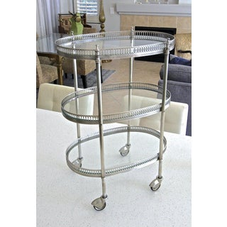 1950's French Oval Silver Plated 3 Tier Bar Cart Preview