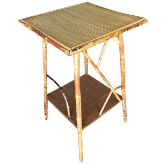 Restored Tiger Bamboo Pedestal Side Table With Organic Formed Accents For Sale