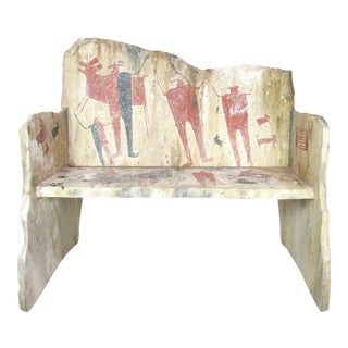 Signed Fiberglass Bench Sculpture, Ethnographic Artwork For Sale