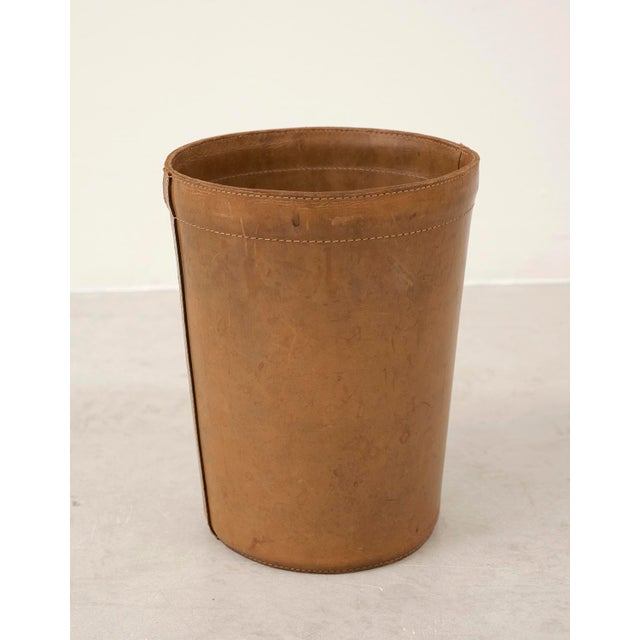 Leather wastebasket with lovely patina from Denmark, 1960s.