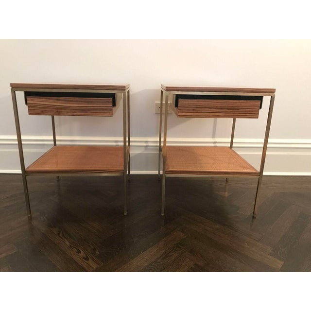 Wood and Brass Bedside Tables - a Pair - Image 2 of 6