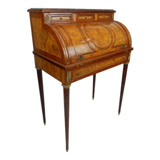 Late 19th Century Louis XVI Inlaid Burl Walnut and Mahogany Rolltop Desk
