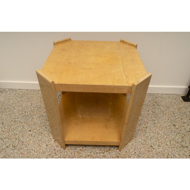 Tan Modern Goatskin End Tables - a Pair For Sale - Image 8 of 10