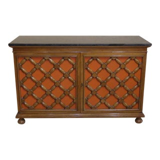 Vintage Heritage Marble Top Walnut Cabinet With Reversible Door Inserts For Sale