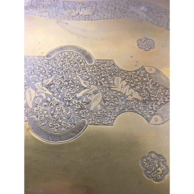 Vintage Chinese Brass Tray With Animal Etchings - Image 6 of 6