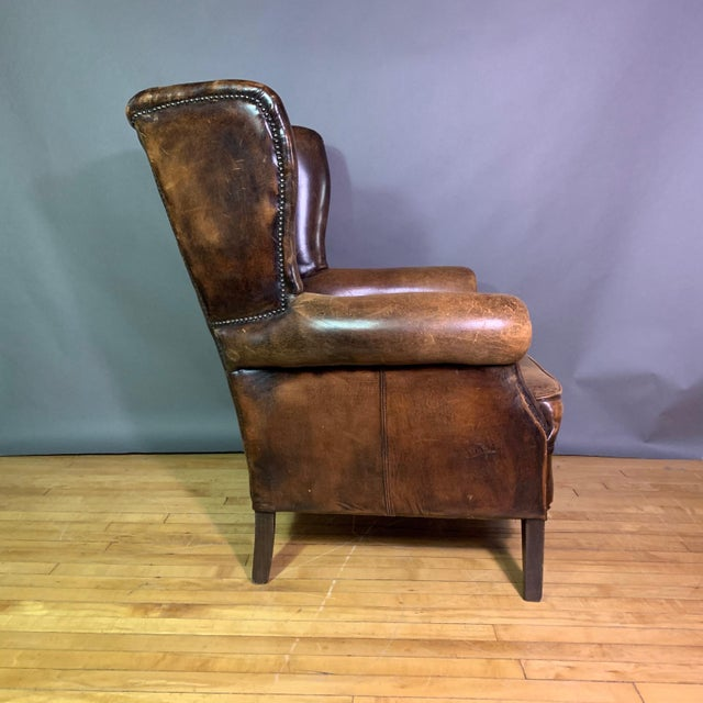 Vintage Stitched-Leather Wing Chair, 20th Century For Sale - Image 4 of 11
