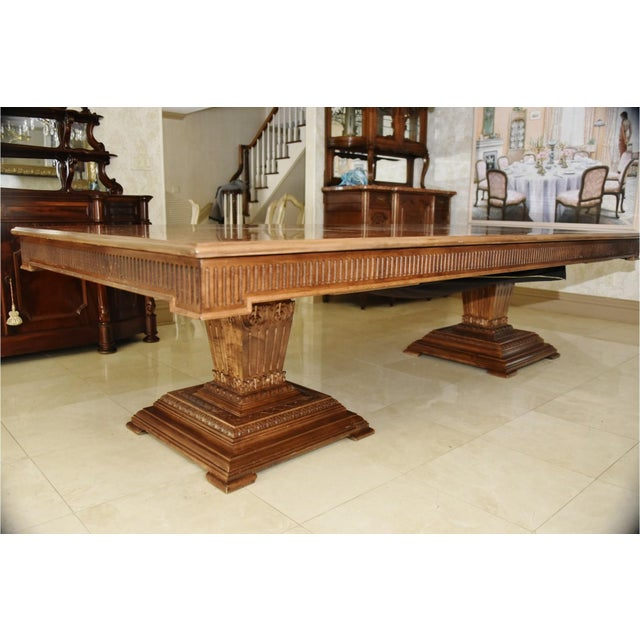 Contemporary Double Pedestal Banquet-Sized Extension Dining Table For Sale In New York - Image 6 of 10