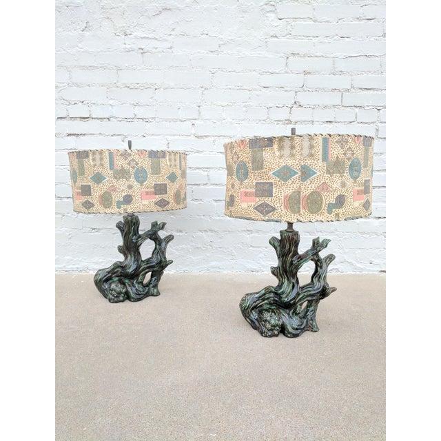 A Pair of Mid Century Modern Ceramic Stump Lamp With Printed Fiberglass Shade - Image 2 of 6