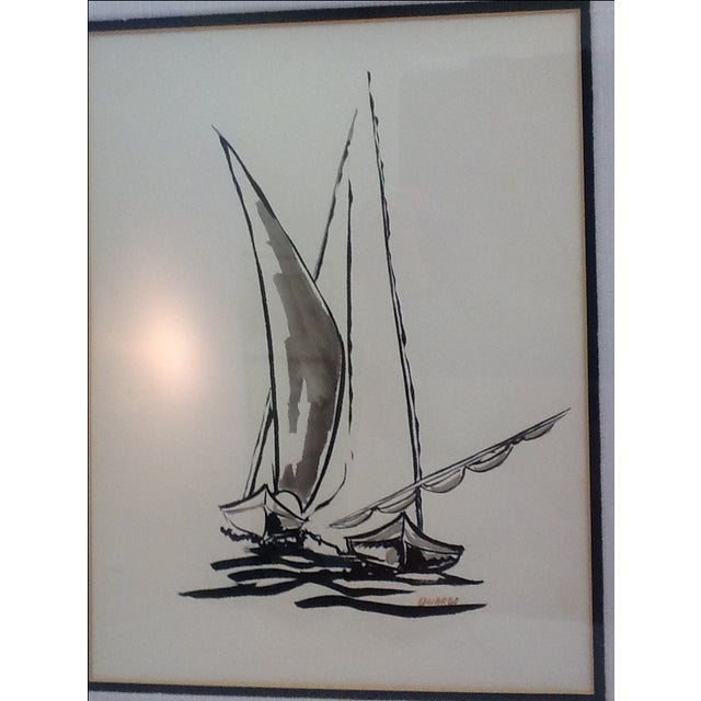 Mid Century Sailboat Painting. Black Ink Original Signed Sailboat Painting - Image 6 of 10