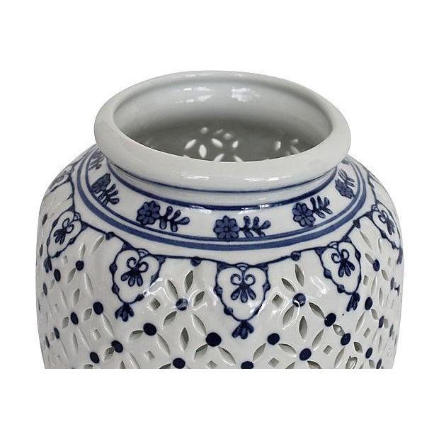 Blue & White Pierced Chinois Vase - Image 5 of 6