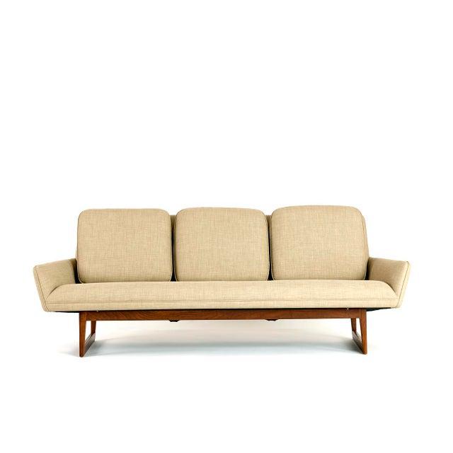 Pair of Jens Risom Sofas For Jens Risom Design USA, 1960s Original teak frames with new upholstery 34 d x 85 w x 32 h in...