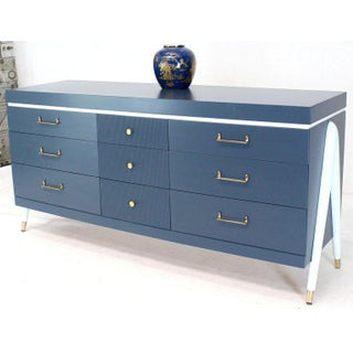 White and Blue Exposed Sculptural Compass Shape Legs Nine Drawers Dresser Preview