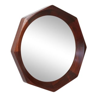 Octagonal Rosewood Mirror by Bvk Denmark For Sale