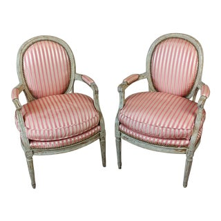 18th Century Antique Louis XVI Beautiful Striped Upholstered Fauteuils Chairs - a Pair For Sale