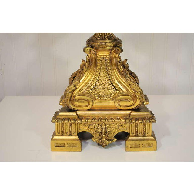 19th Century Figural French Louis XV Style Gilt Bronze Lion Candelabra Table Lamp For Sale - Image 9 of 11