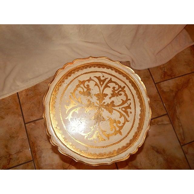 Italian Gold Gilt Wood Florentine Round Pedestal Side Table - Image 5 of 10
