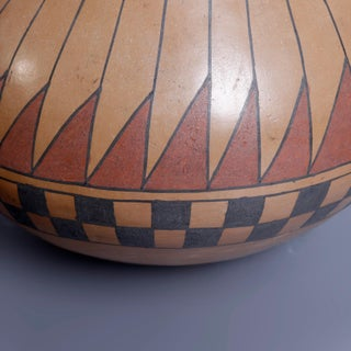 Beto Tena Southwest American Indian Acoma Style Feather Pottery Vase Preview