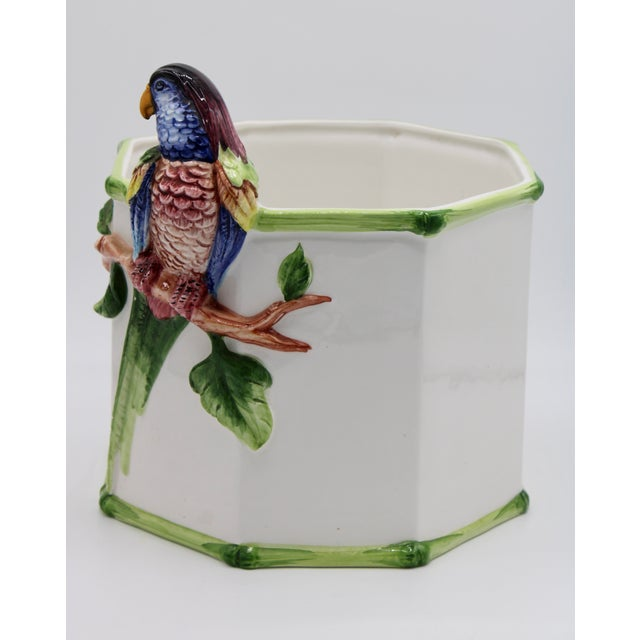 1960s Large Italian Ceramic Parrot Planter For Sale - Image 4 of 13
