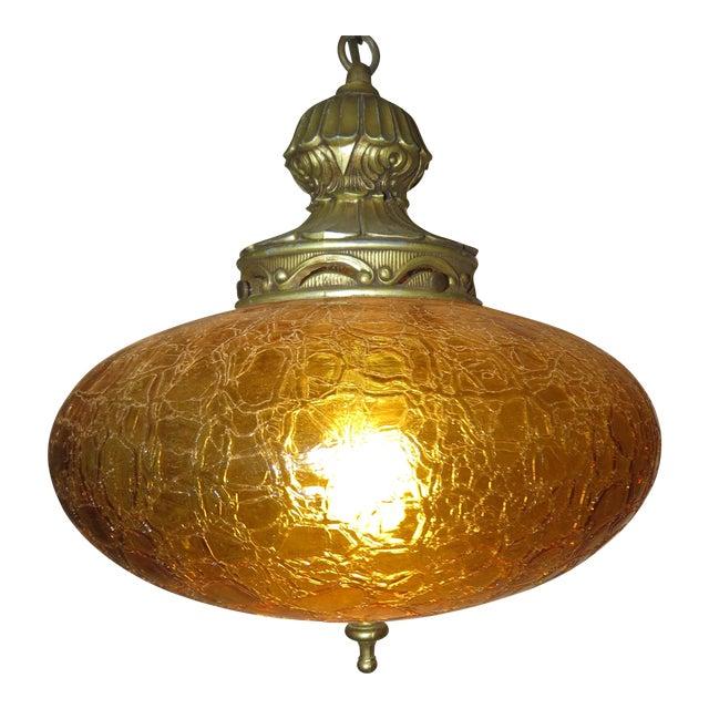 Vintage Italian Art Glass Rewired Retro Boho Gold Crakle Hanging Light For Sale