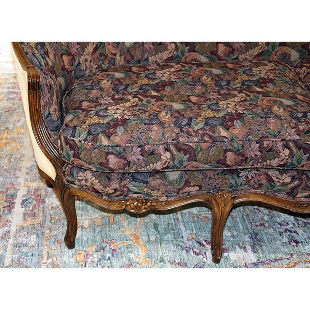 Louis XV Style Carved Walnut Tapestry Sofa For Sale - Image 4 of 13