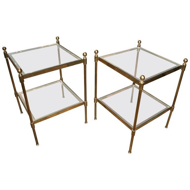Gold Pair of Italian 1960s Two-Tier End Tables in Brass For Sale - Image 8 of 8