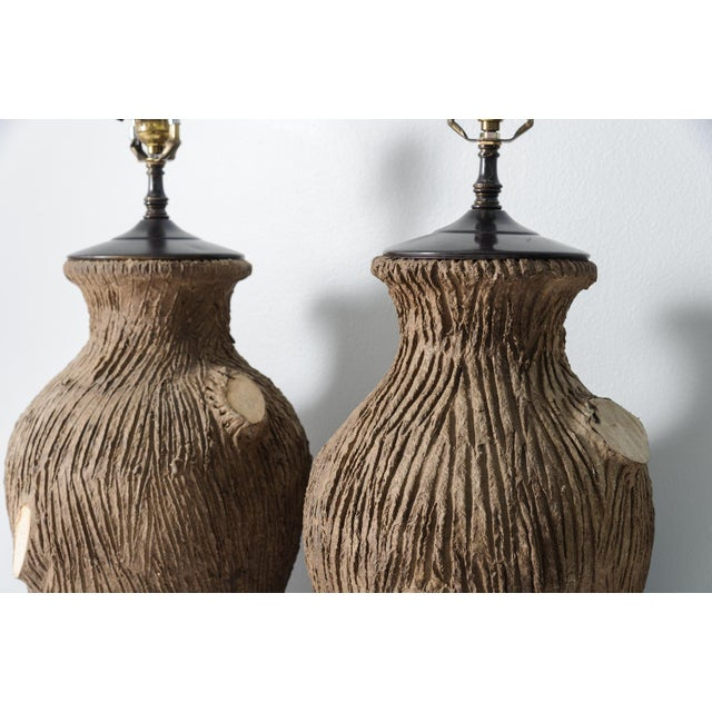 "Pair of Large Vintage Faux Bois Pottery Lamps. Great condition, no chips or repairs. 24"" high to socket. New wiring."