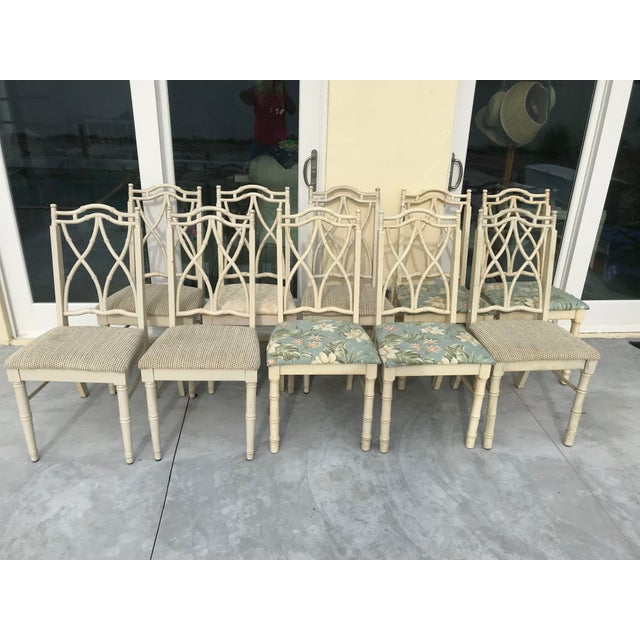 Fabulous, hard to find, set of ten Thomasville faux bamboo vintage chairs. They were acquired from a couple of different...