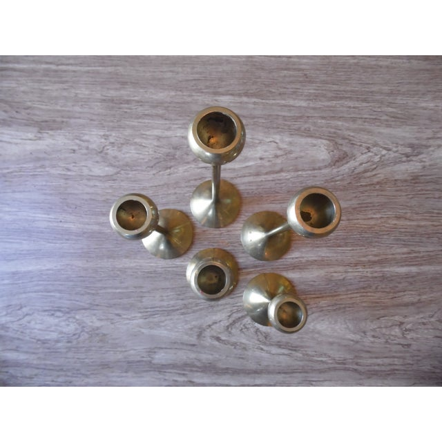 Brass Candlestick Holders- Set of 5 - Image 3 of 4