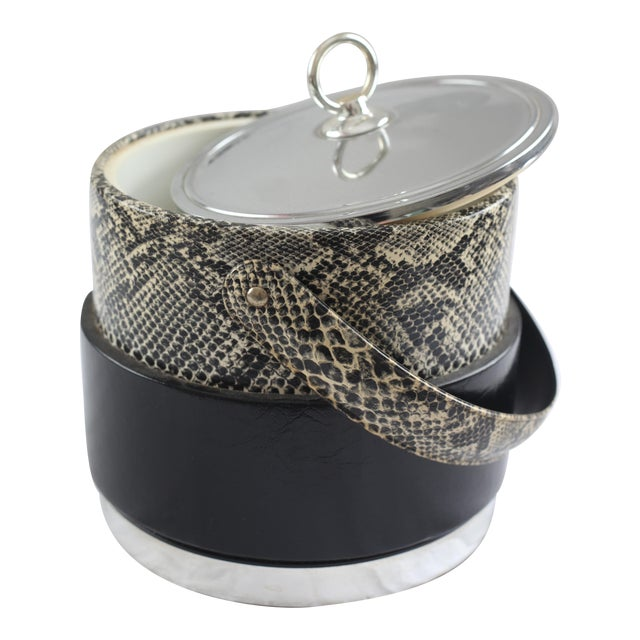 Faux Python Black & Chrome Ice Bucket - Image 1 of 8