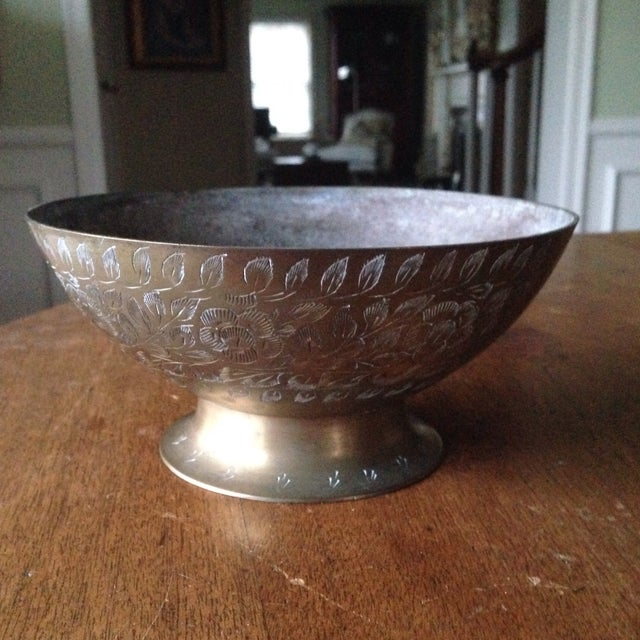 Vintage Etched Brass Bowl For Sale - Image 11 of 11