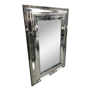 Andre Hayat Rectangular Curved Silver Mercury Frame Mirror For Sale