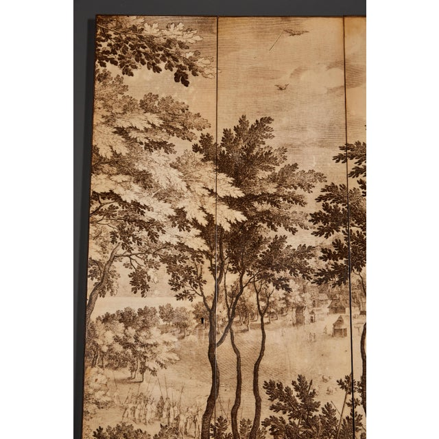 A striking four-panel screen in the manner of Fornasetti, utilizing the characteristic photo transfer method.