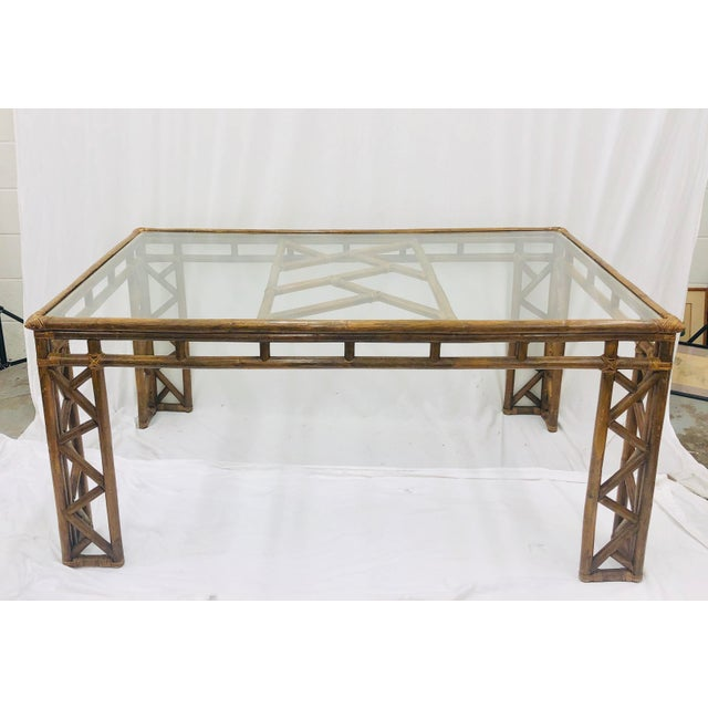 Stunning Vintage Mid Century Era Hollywood Regency / Chinese Chippendale Style Rattan & Woven Wicker Dining Table or Desk....