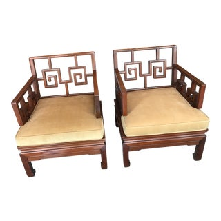 Vintage Asian Chinoiserie Rosewood Meditation Chairs - a Pair For Sale