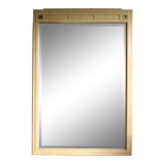 Regency Faux Parchment Mirror With Brass Quatrefoil Details For Sale
