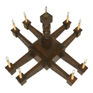 Antique Mission Arts & Crafts Style Hand-Carved Walnut Chandelier