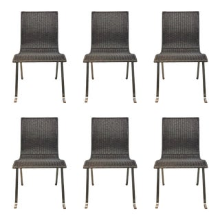 Caracole Modern Gray Wicker Dining Chairs Prototypes Set of Six For Sale