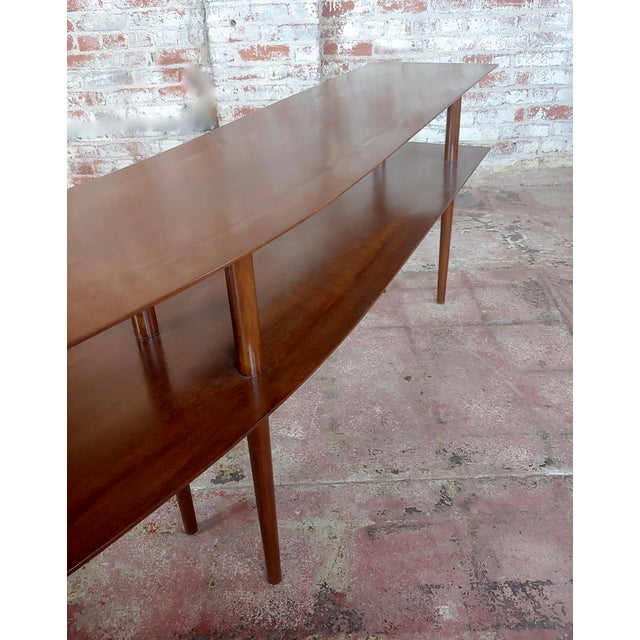 1960s Mid-Century Modern Walnut Two Tier Curvy Console For Sale - Image 9 of 12
