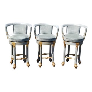Vintage French Provincial Rococo Blue Velvet Swivel Bar Stools - Set of 3