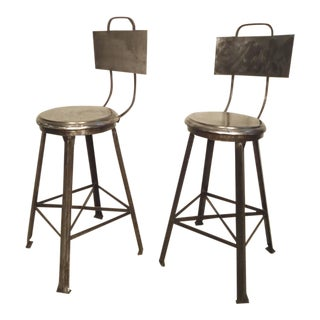 Industrial Style Bar Stools - A Pair For Sale
